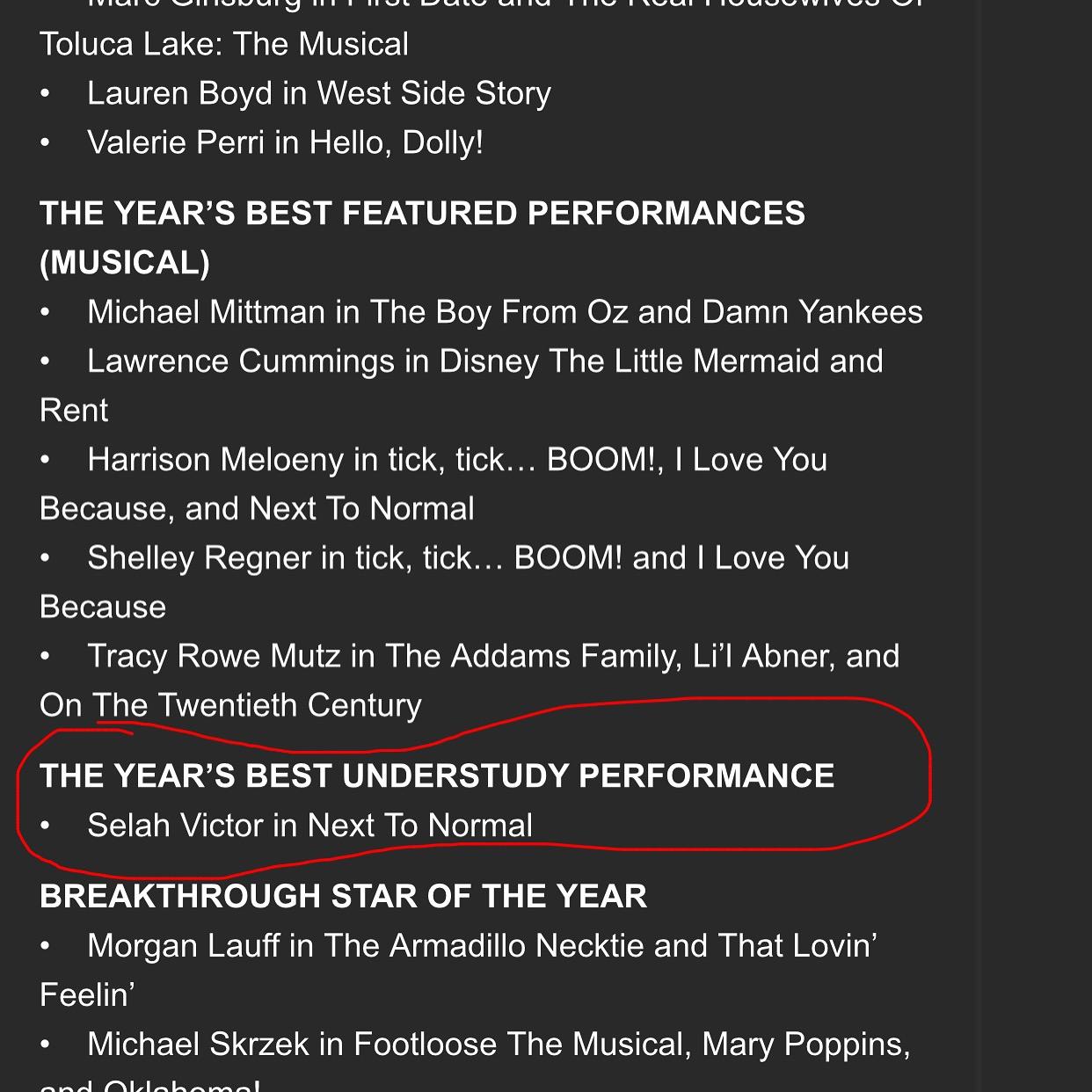 Selah wins Best Understudy of the Year – Scenie Award